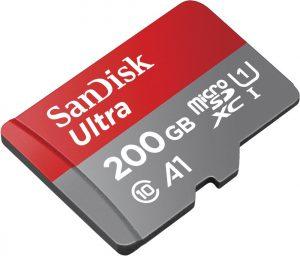 SanDisk Ultra 200GB microSDXC Speicherkarte + Adapter bis zu 100 MB/Sek., Class 10, U1, A1