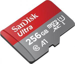 SanDisk Ultra 256 GB microSDXC Speicherkarte + Adapter bis zu 100 MB/Sek., Class 10, U1, A1