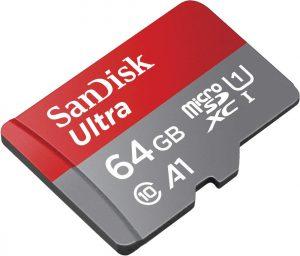 SanDisk Ultra 64GB microSDXC Speicherkarte + Adapter bis zu 100 MB/Sek., Class 10, U1, A1